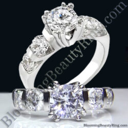 Tension Set Large Diamond Curved 8 Prong Engagement Ring