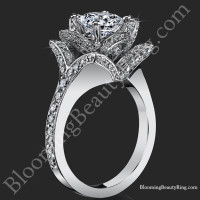 The Large Crimson Rose Flower Diamond Engagement Ring