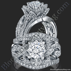 The Large Lotus Swan Double Band Flower Ring Set – bbr626-1
