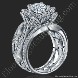 The Large Lotus Swan Double Band Flower Ring Set