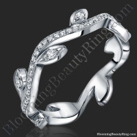 The Lotus Leafy Diamond Wedding Band