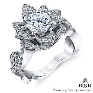 The Large Lotus Swan 1.48 ct. Diamond Engagement Flower Ring – bbr626
