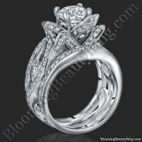 The Original Lotus Swan Double Band Flower Ring Set