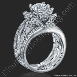 the original lotus swan double band flower ring set - Lotus Wedding Ring