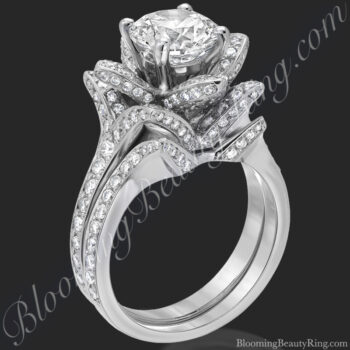 The small crimson rose flower diamond engagement ring set