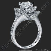 The Small Crimson Rose Flower Diamond Engagement Ring