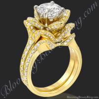 The Small Crimson Rose Flower Diamond Engagement Ring Set<br>$5075