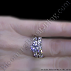 Tiffany Style 9 Large Stone Diamond Engagement Ring Set On The Finger