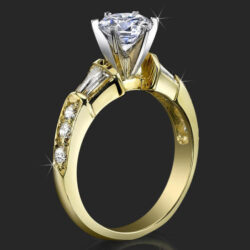 Tiffany Style Channel Set Baguette and Pave Mounted Round Beveled Diamond Engagement Ring - bbr253