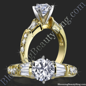 Tiffany Style Channel Set Baguette – Pave Round Beveled – Diamond Engagement Ring – bbr253