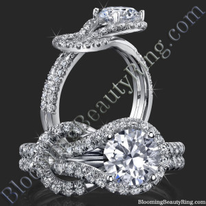 Two Interlaced Split Loop Diamond Engagement Ring – bbr512