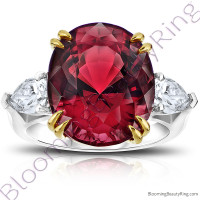 16.16 ctw. Two Toned Double Prong Oval Red Spinel Ring with Pear Side Diamonds