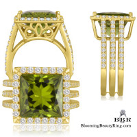 Vibrant and Brilliant Apple Green Peridot Gemstone Ring - jtr211