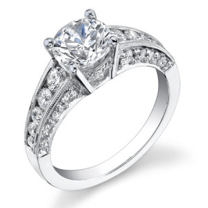 Vintage Inspired Half Circle Tapered Diamond Engagement Ring – bbr430