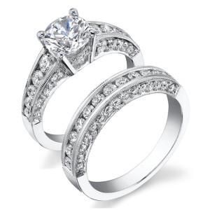 Vintage Inspired Half Circle Tapered Diamond Engagement Ring Set – bbr430ab