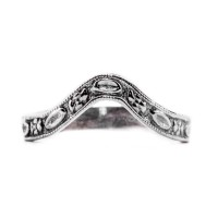 wb021bbr | Antique Filigree Wedding Band | Curved | Engraved | Flowers and Ovals<br>$403