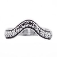 wb029bbr | Antique Filigree Wedding Band | Curved and Engraved | Tiny Flowers<br>$594