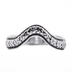 wb029bbr | Antique Filigree Wedding Band | Curved and Engraved | Tiny Flowers