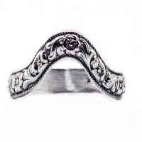 wb030bbr | Antique Filigree Wedding Band | Curved and Engraved | Flowers and Leafs<br>$928