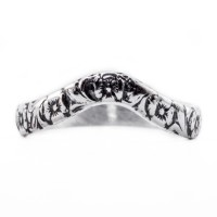 wb042bbr | Antique Filigree Wedding Band | Curved and Engraved | Flower Companion Band<br>$519