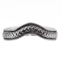 wb074bbr | Antique Filigree Wedding Band | Curved and Engraved | Continuous Milgrain Border<br>$731
