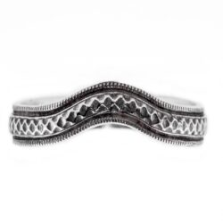 wb074bbr | Antique Filigree Wedding Band | Curved and Engraved | Continuous Milgrain Border