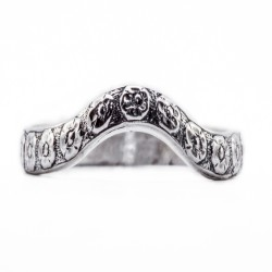 wb075bbr | Antique Filigree Wedding Band | Curved and Engraved | Floral