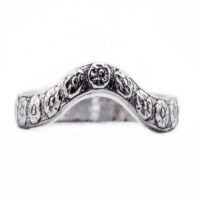 wb075bbr | Antique Filigree Wedding Band | Curved and Engraved | Floral<br>$706