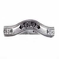 wb077bbr | Antique Filigree Wedding Band | Curved and Engraved | Flowers and Arrows<br>$594