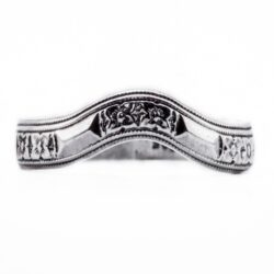 wb077bbr | Antique Filigree Wedding Band | Curved and Engraved | Flowers and Arrows