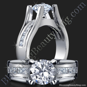 Wide Band Floating Diamond with Invisible Channel Set Princess Cut Diamonds – bbr159