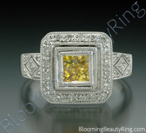 .50 ctw. Princess Yellow Sapphire and Diamond Square Ring – cgrRG1801